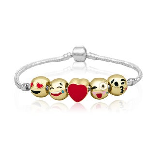 18K Gold Plated Emoji Charm Bracelet, 5 Charms Total!