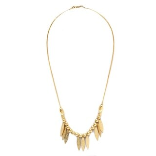 Gold-plated Brass Graduated Ball and Leaf Necklace - Gold