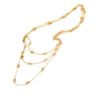 Gold Plated and Brown Leaf Triple Strand Necklace