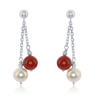 La Preciosa Sterling Silver Freshwater Pearl & Natural Stone Bead Dangle Earrings