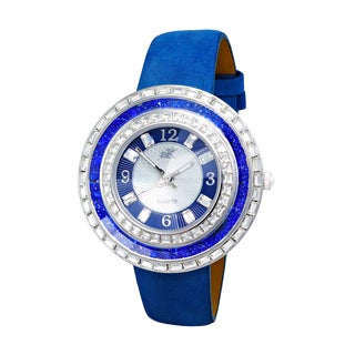 Adee Kaye Beverly Hills Women's Blue Leather Crystal Fashion Watch