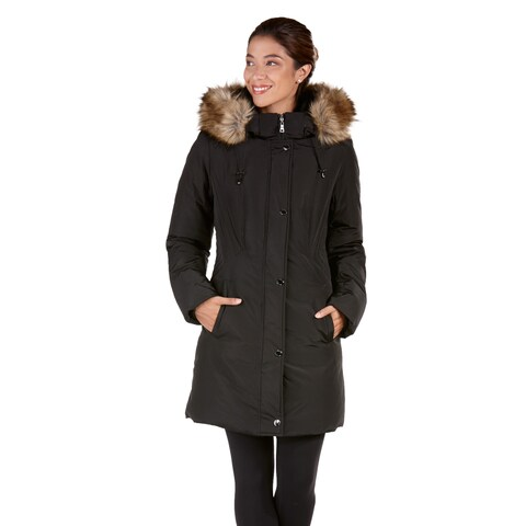 Women's Provence Down Coat with Faux Fur Trim Hood