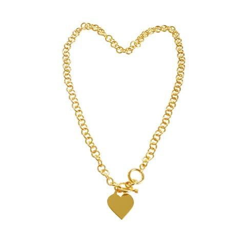 Gold-plated Brass Cable Link Heart Charm Necklace - Gold