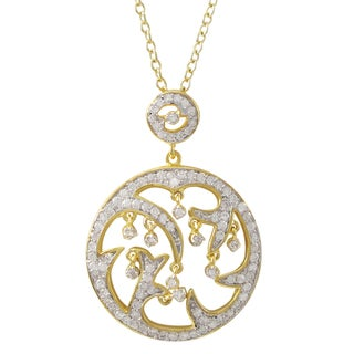 Luxiro Two-tone Gold Finish Sterling Silver Cubic Zirconia Circle Pendant Necklace