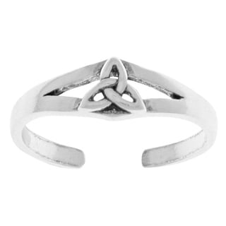 Carolina Glamour Collection Sterling-silver Celtic Trinity Knot Thin Adjustable Toe Ring