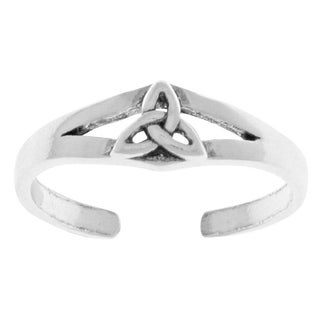 Sterling-silver Celtic Trinity Knot Thin Adjustable Toe Ring