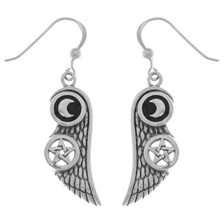 Carolina Glamour Collection Sterling Silver Moon and Pentacle Star Wing Dangle Earrings