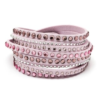 Pink/White Leather Austrian Crystals Wrap Bracelet