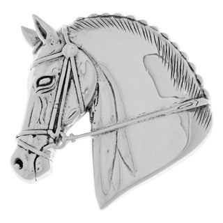 Sterling Silver Horse Head Equestrian Brooch Pin
