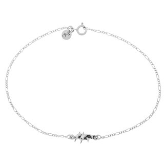 Sterling Silver Double Swimming Dolphins Anklet