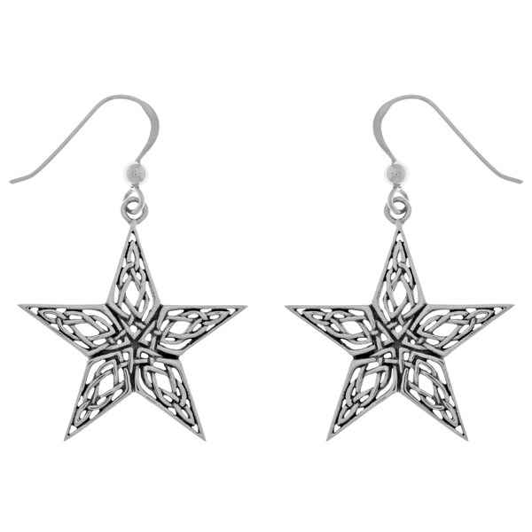 Sterling Silver Celtic Knotwork Star Dangle Earrings