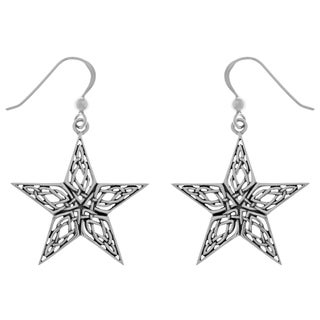Carolina Glamour Collection Sterling Silver Celtic Knotwork Star Dangle Earrings