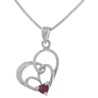 Carolina Glamour Collection Sterling Silver Created Ruby Double Heart Pendant