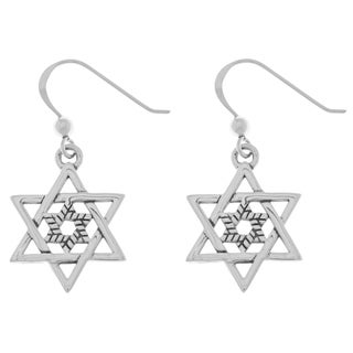 Carolina Glamour Collection Sterling Silver Double Star of David Dangle Earrings