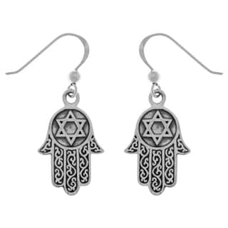 Carolina Glamour Collection Sterling Silver Filigree Hand of Fatima With Star of David Dangle Earrings