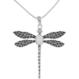 Carolina Glamour Collection Sterling Silver Large Dragonfly Pendant on 18-inch Box Chain Necklace