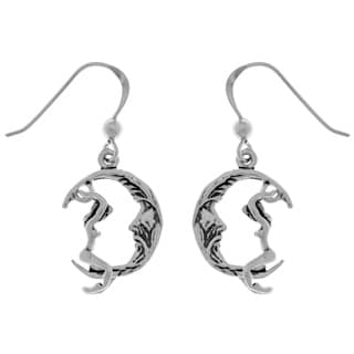 Sterling Silver Maiden Riding Crescent Moon Dangle Earrings