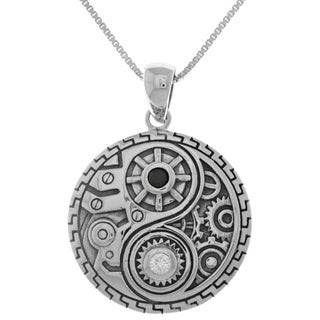 Cubic Zirconia Sterling Silver Steampunk Yin Yang Pendant on 18-inch Box Chain Necklace