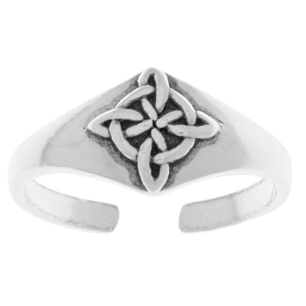 Sterling Silver Good Luck Celtic Quaternary Knot Adjustable Toe Ring
