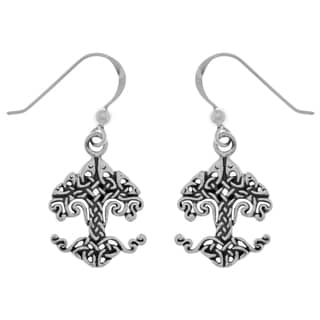 Carolina Glamour Collection Sterling Silver Celtic Knotwork Tree of Life Dangle Earrings
