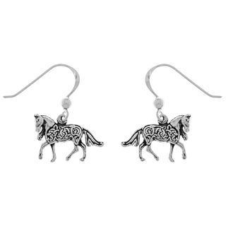 Carolina Glamour Collection Sterling Silver Small Celtic Knotwork Horse-shaped Dangle Earrings