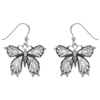 Carolina Glamour Collection Sterling Silver Victorian Butterfly Dangle Earrings