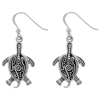 Carolina Glamour Collection Women's Sterling Silver Aboriginal Tribal Turtle Dangle Earrings