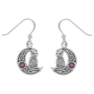 Carolina Glamour Collection Sterling Silver Purple Amethyst Celtic Crescent Moon Cat Dangle Earrings