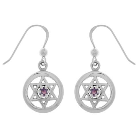 Sterling Silver Purple Amethyst Star of David Dangle Earrings