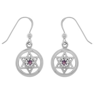 Carolina Glamour Collection Sterling Silver Purple Amethyst Star of David Dangle Earrings
