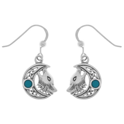 Sterling Silver Created Turquoise Celtic Moon Howling Wolf Dangle Earrings