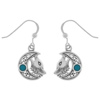 Carolina Glamour Collection Sterling Silver Created Turquoise Celtic Moon Howling Wolf Dangle Earrings
