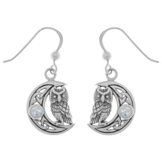 Carolina Glamour Collection Sterling Silver Moonstone Celtic Crescent Moon Owl Dangle Earrings
