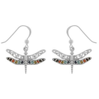 Sterling Silver Filigree Wing Dragonfly Dangle Earrings With Crystals