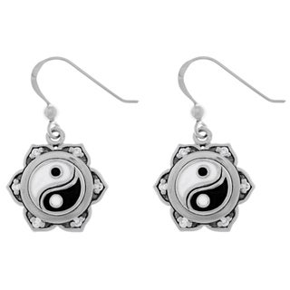 Carolina Glamour Collection Cubic Zirconia Sterling Silver Yin Yang Lotus Flower Dangle Earrings