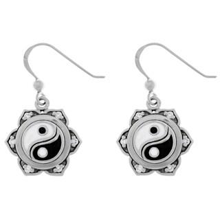 Cubic Zirconia Sterling Silver Yin Yang Lotus Flower Dangle Earrings - White