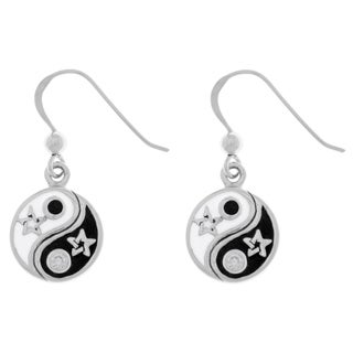 Carolina Glamour Collection Sterling Silver Cubic Zirconia Yin Yang Stars Dangle Earrings