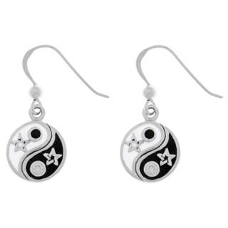 Sterling Silver Cubic Zirconia Yin Yang Stars Dangle Earrings