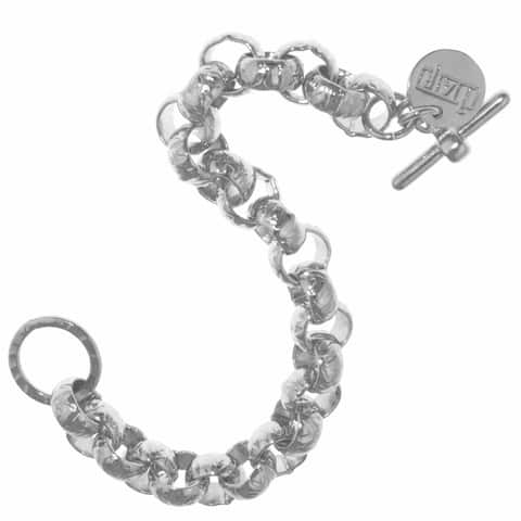 Isla Simone - Sterling Silver And White Bronze Plated Hammered Round Belcher Bracelet With Toggle