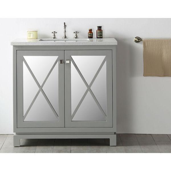 cool grey white bathroom vanity | Shop Legion Furniture Quartz Top 36-inch Cool Grey Single ...