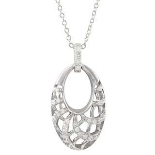 Luxiro Sterling Silver Cubic Zirconia Open Oval Pendant Necklace