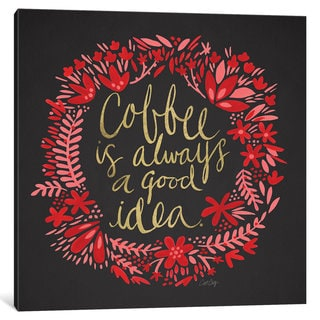 iCanvas Coffee Charcoal Artprint by Cat Coquillette Canvas Print