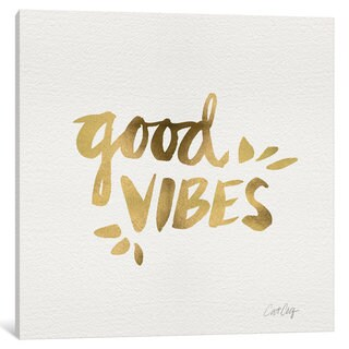 iCanvas Good Vibes Gold Artprint by Cat Coquillette Canvas Print