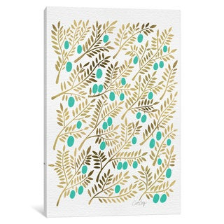 iCanvas Turquoise Olive Branches Artprint by Cat Coquillette Canvas Print
