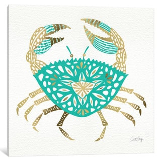 iCanvas Gold Turquoise Crab Artprint by Cat Coquillette Canvas Print