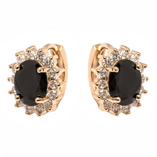 Women's Gold-plated Brass Black Crystal Spike Flower Huggie Earrings