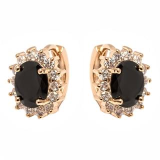 Women's 18k Gold-plated Brass Black Crystal Spike Flower Huggie Earrings