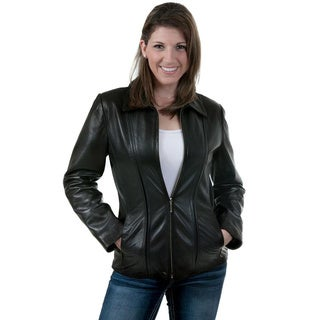 Women's Black Lambskin Scuba Jacket