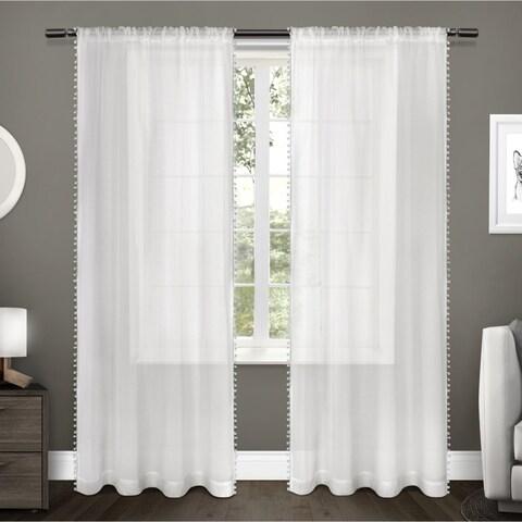 ATI Home Pom Pom Applique Sheer Rod Pocket Top Curtain Panel Pair
