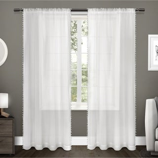 ATI Home Polyester Textured Sheer Bordered Pom Pom Applique Rod Pocket Window Curtain Panel Pair